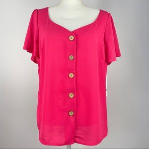 NY Collection Flutter Sleeve Button Down Blouse